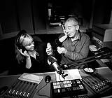 Mark and Catriona photographed working on their show, Limerick's Live 95 FM radio breakfast show.