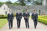 Groom with his groomsmen on his way to his wedding ceremony at the beautiful wedding venue of Castlemartyr, Co. Cork, Ireland.