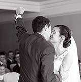 Groom punches the air in delight at a wedding in Castlemartyr, Co. Cork, Ireland.