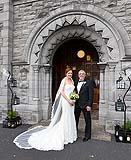 Bride and her dad  before they head up the aisle, at St. Mary's church Limerick.