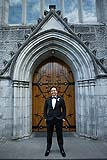 Groom before his wedding at the Holy Trinity Church in Adare, Co. Limerick, Ireland