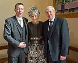 Groom with his Mum and Dad at Douglas Church, Co. Cork, Ireland.