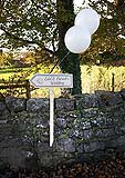 Pretty sign for guests on route to a wedding at Kilcolman Church, Co. Limerick.