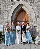Bride with her dad and girls before her wedding at Kilcolman Church, Kilcolman, Co. Limerick.