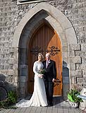 Bride with her dad  before her wedding at Kilcolman Church, Kilcolman, Co. Limerick.