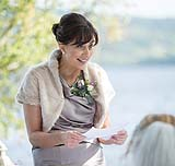 Bride's mum reading a special blessing for the newly married couple at AnnaCarriga Killaloe, Co. Clare, Ireland.