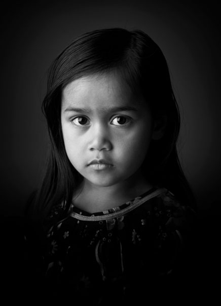Black and white image which won a European award in the Childrens portrait category