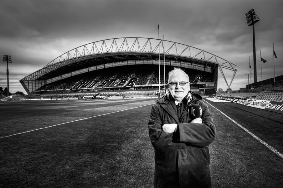 Len Dineen, the well known radio voice of Limerick rugby posing on the grounds of Thomond Park, Limerick