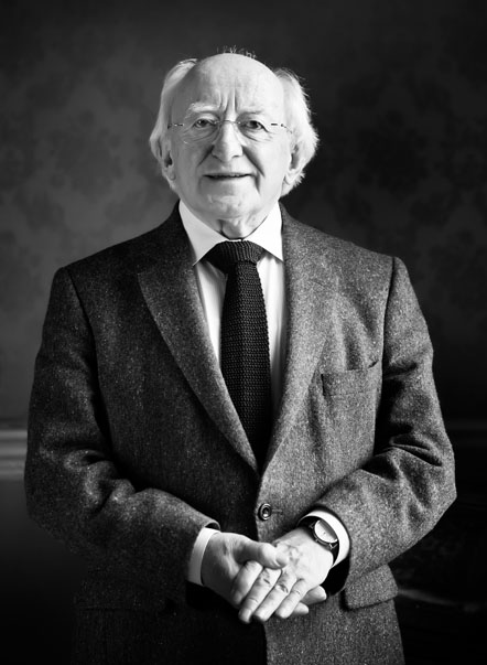 President of Ireland Michael D. Higgins in office at Aras an Uachtarain, Dublin Ireland