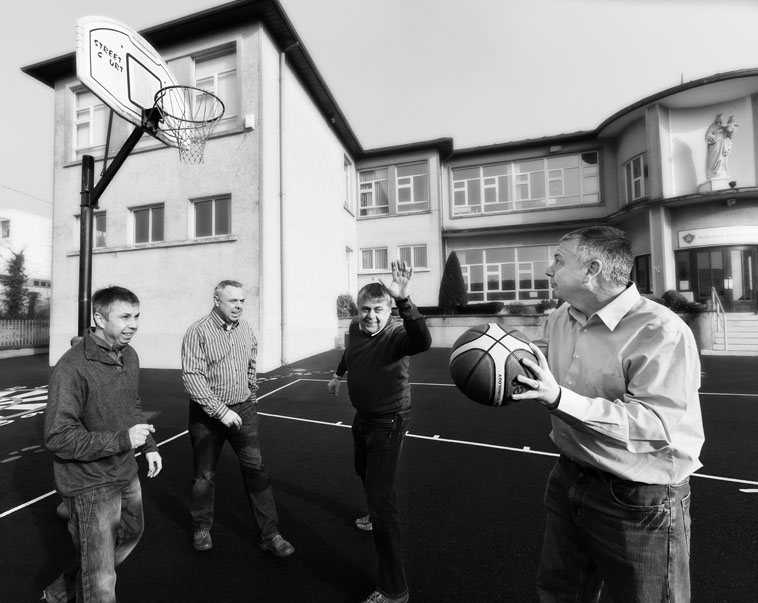 The Deegan brothers revisting their school basketball days on the grounds of the Salesian school, Limerick, Ireland.
