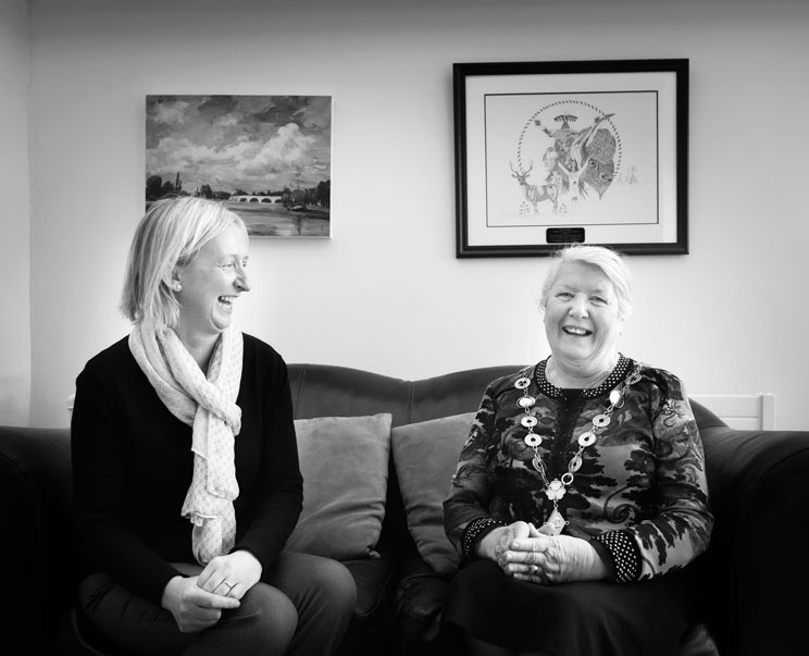 Former Mayor Geraldine Leddin sharing a joke with her right hand girl Siobhan at the City hall office, Limerick.