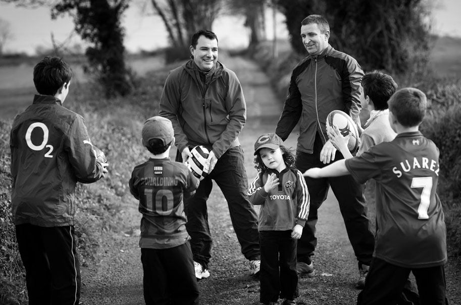 James and Niall Collins of Fianna Fáil having fun with their children for our Faces of Limerick portrait.