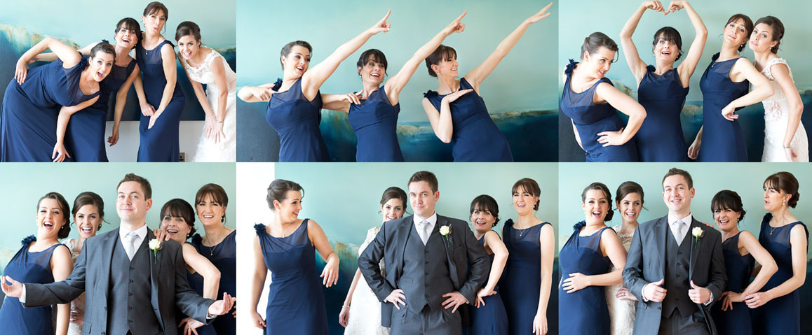 Groomsman and bridesmaids having great fun posing for their wedding photography, at Castlemartyr, Co. Cork, by Cormac Byrne Photography.