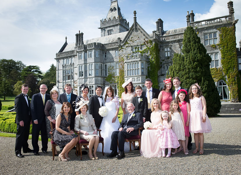 Family portrait taken at wedding at Adare Manor, Adare, Co. Limerick.