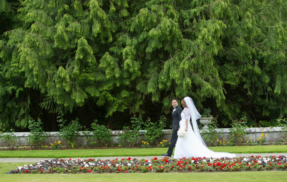 Bride and groom on the grounds of Adare Manor, Adare, Co. Limerick, Ireland.