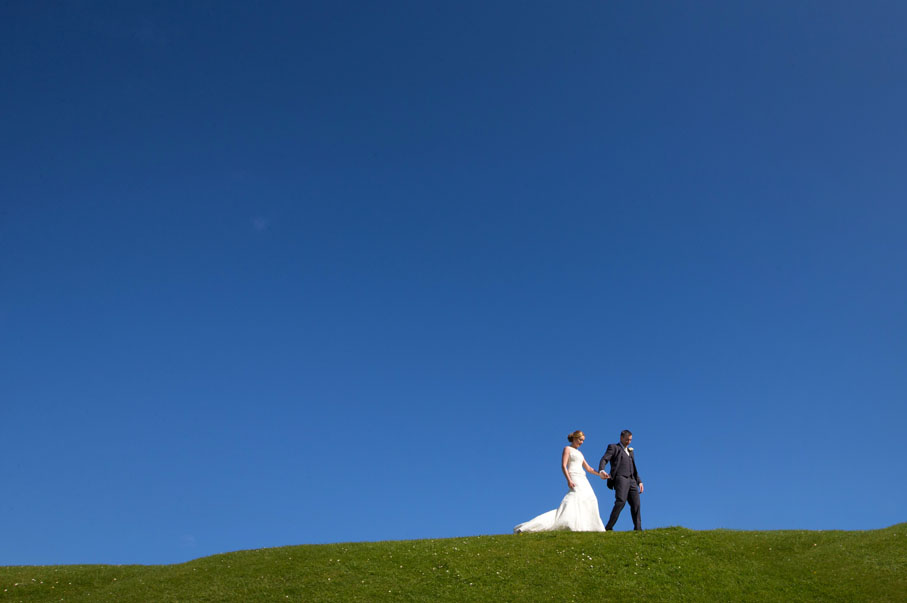Bride and Groom visit Charles Fort after their wedding at Douglas Church, Co. Cork, before going to Acton's Kinsale, for their reception