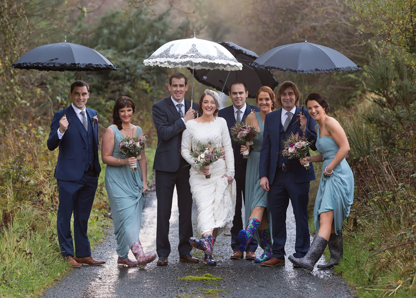 Bridal party posing for some photographs before the wedding reception at Ballygarry House, Tralee, Co. Kerry.