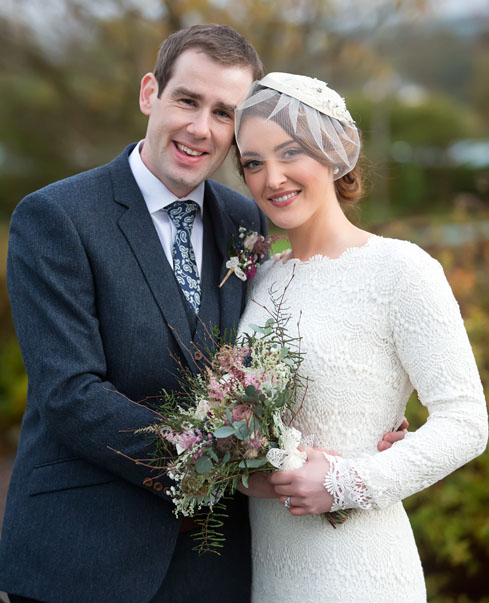 Brid e and groom at their wedding reception at Ballygarry House, Tralee, Co. Kerry.