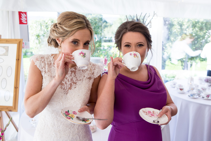 Bride and Bridesmaid being very posh on the grounds of AnnaCarriga Estate, Killaloe, Co. Clare, Ireland.