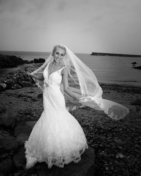 Emma O'Driscoll on her wedding day after her wedding at Spiddal Church, Co.Galway, Ireland.