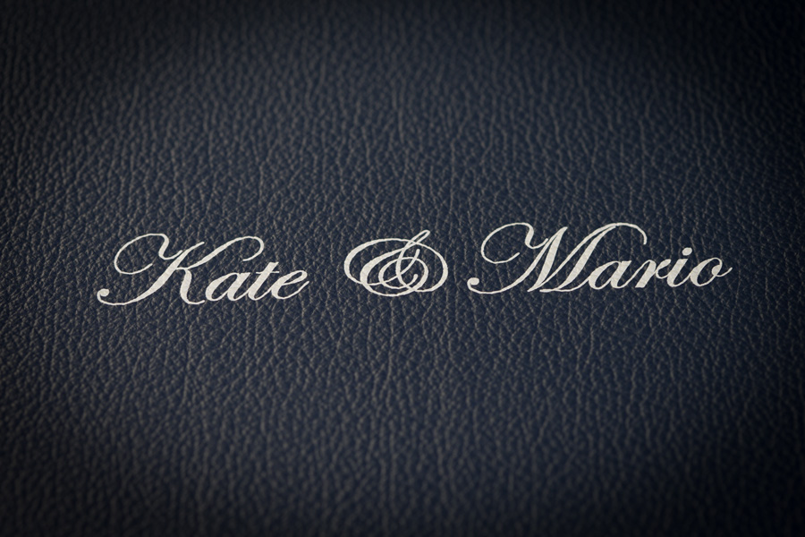 Beautiful wedding book display box engraved with couple's names.