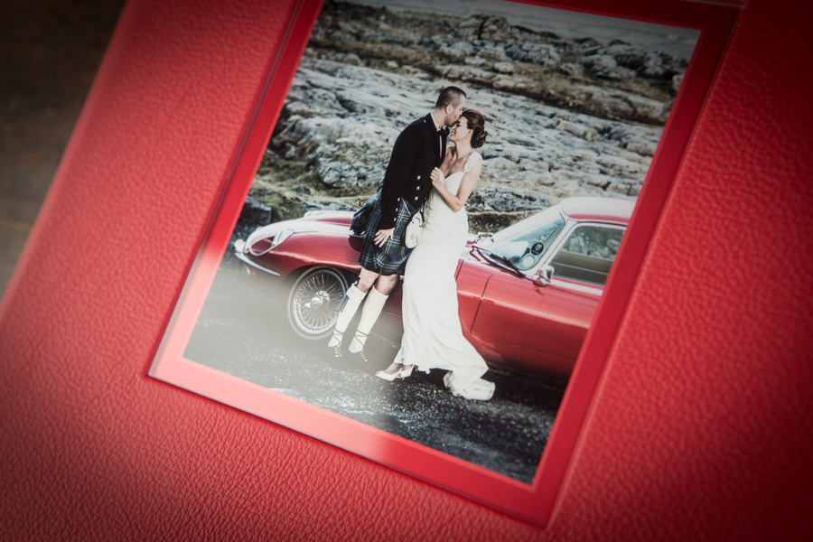 Beautiful glazed cover image on wedding album supplied at Cormac Byrne Photography, Limerick. Ireland.