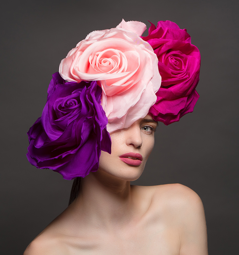 Model Grace Connell from Andrea Roche models Dublin.  Hat by Anthony Peto.